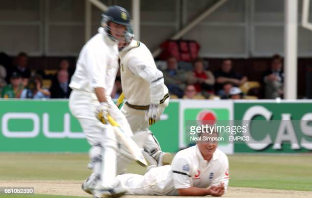 England's Darren Gough is tumbled as South Africa's Herschele Gibbs and Graeme Smith pile on the runs