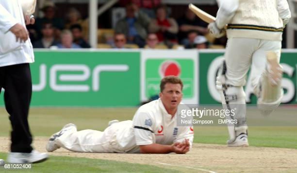 England's Darren Gough is tumbled as South Africa's Herschelle Gibbs and Graeme Smith pile on the runs