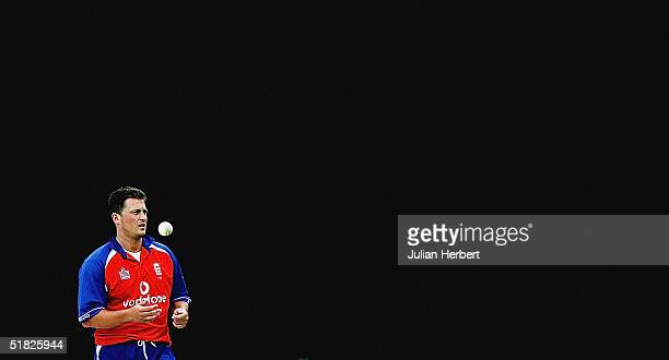 England's Darren Gough prepares to bowl during the 4th One Day International played at The Queens Sports Club in Bulawayo on December 5 2004 in...