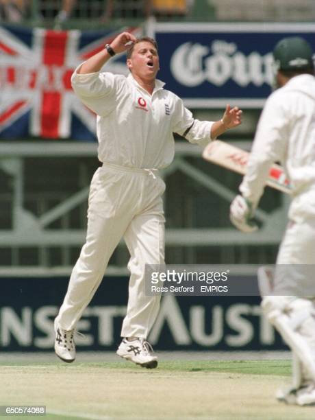 England's Darren Gough shows his frustration bowling at Australia's Mark Taylor