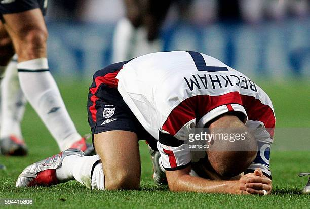 England's David Beckham shows his disappointment after England's 65 loss to Portugal in the quarterfinals of the 2004 European Championships