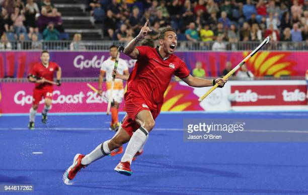 England's David Condon celebrates scoring a goal against India during Hockey on day seven of the Gold Coast 2018 Commonwealth Games at Gold Coast...