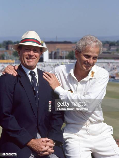 England's David Gower and former cricketer and commentator Geoffrey Boycott after Gower had passed Boycott's total number of Test match runs during...