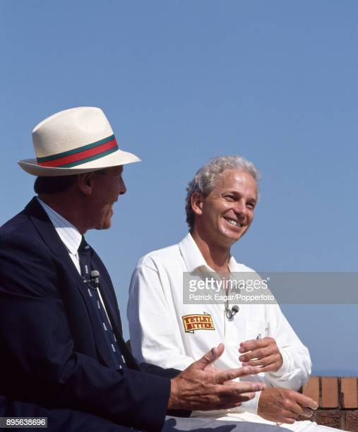 England's David Gower is interviewed by former cricketer and commentator Geoffrey Boycott after Gower had passed Boycott's total number of Test match...