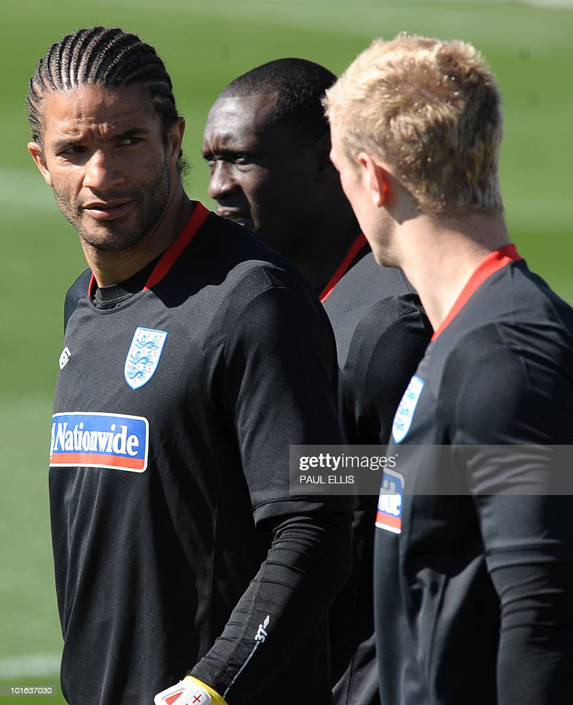 England's David James (L), Emile Heskey and Joe Hart arrive for a training session at the Royal Bafokeng Sports Campus near Rustenburg on June 5, 2010.