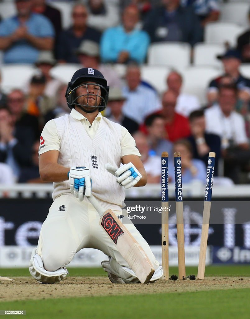 England's Dawid Malan gets bowled out by Kagiso Rabada of South Africa during the International Test Match Series Day One match between England and South Africa at The Kia Oval Ground in London on July 27, 2017