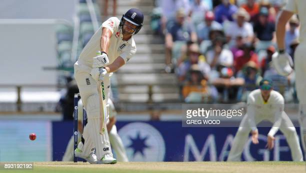 England's Dawid Malan plays a shot on day two of the third Ashes cricket Test match between England and Australia in Perth on December 15 2017 / AFP...