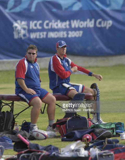England's Dean Conway and Kevin PIetersen during net practice