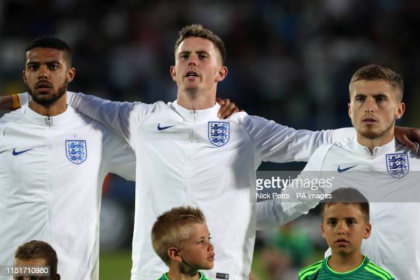 England's Dean Henderson during the National Anthems during the 2019 UEFA European Under21 Championship match at The San Marino Stadium Serravalle