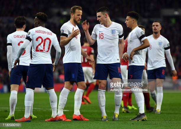 England's Declan Rice and Harry Kane celebrates after the fifth goal during the 2020 UEFA European Championships group A qualifying match between...