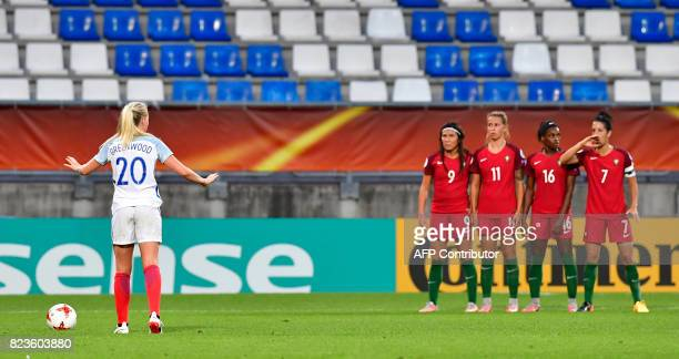 England's defender Alex Greenwood reacts during the UEFA Women's Euro 2017 football match between Portugal and England at Stadium Koning Willem II in...