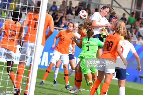 England's defender Anna Patten vies with Netherlands' goalkeeper Lize Kop during the Women's World Cup U20 quarter final football match between...