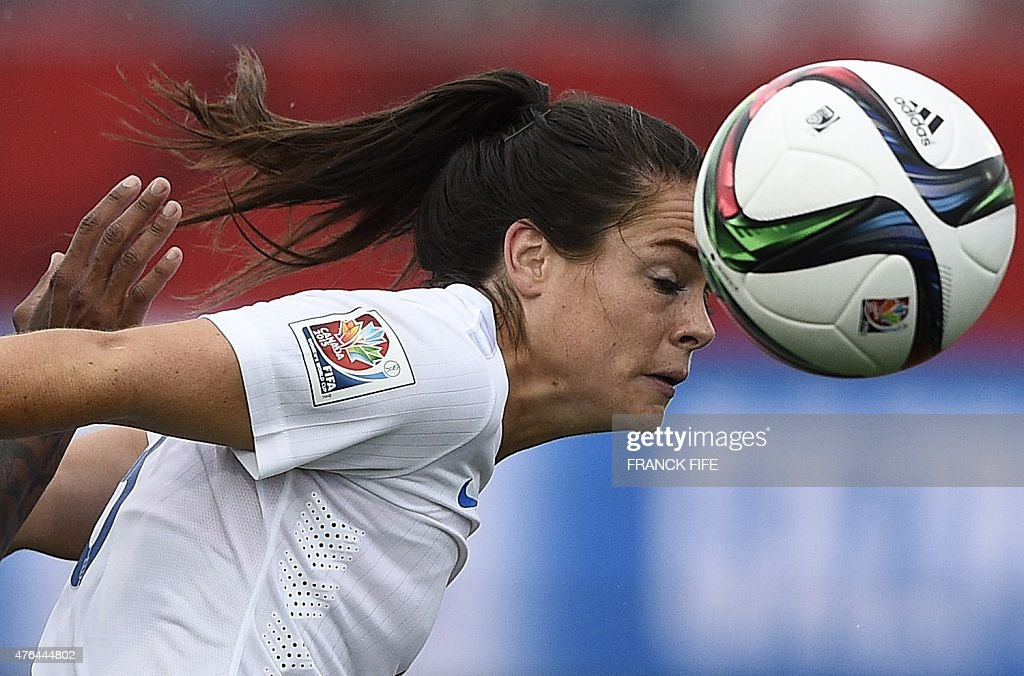 England's defender Claire Rafferty controls the ball during a Group F match at the 2015 FIFA Women's World Cup between France and England at Moncton Stadium on June 9, 2015