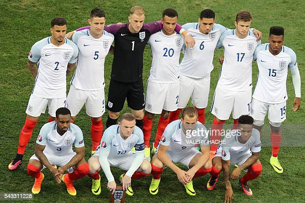 England's defender Danny Rose England's forward Wayne Rooney England's forward Harry Kane and England's midfielder Raheem Sterling and England's...