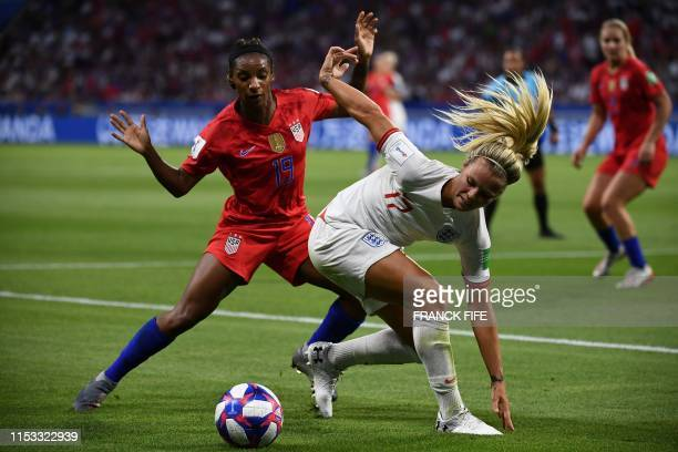 TOPSHOT England's defender Demi Stokes dives for the ball United States' defender Crystal Dunn during the France 2019 Women's World Cup semifinal...