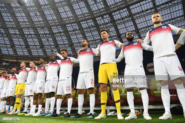 England's defender Gary Cahill England's forward Jamie Vardy England's midfielder Fabian Delph England's goalkeeper Jack Butland England's defender...