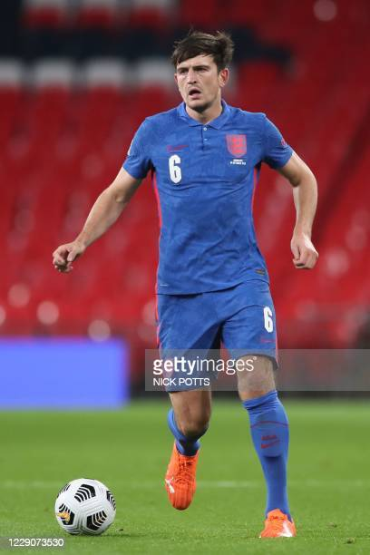 England's defender Harry Maguire controls the ball during the UEFA Nations League group A2 football match between England and Denmark at Wembley...