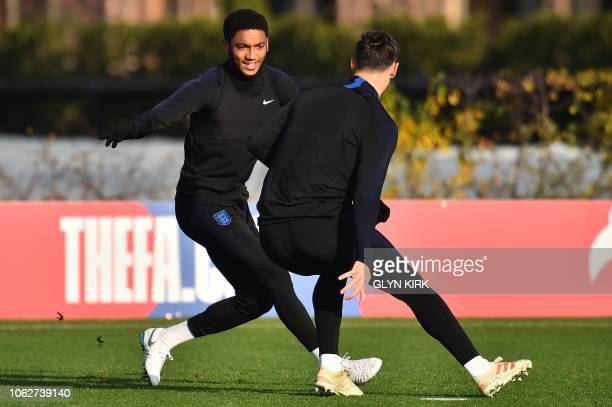 England's defender Joe Gomez attends a training session at Tottenham Hotspur's training ground in north London on November 17 on the eve of their...
