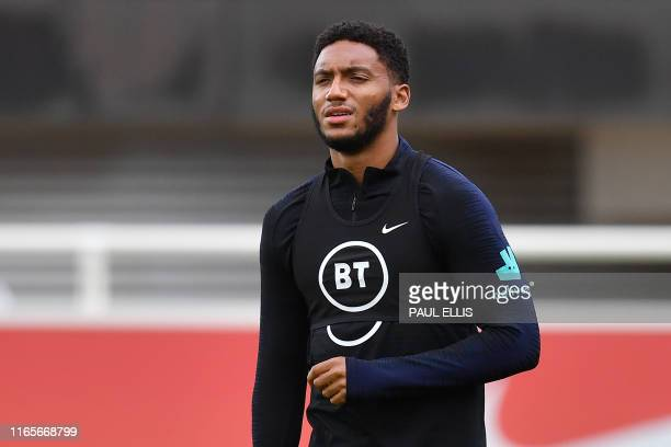 England's defender Joe Gomez attends an England team training session at St George's Park in Burton-on-Trent, central England on September 2 ahead of...