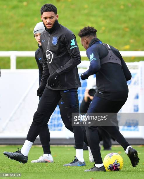 England's defender Joe Gomez attends an England team training session at St George's Park in Burton-on-Trent, central England on November 12 ahead of...