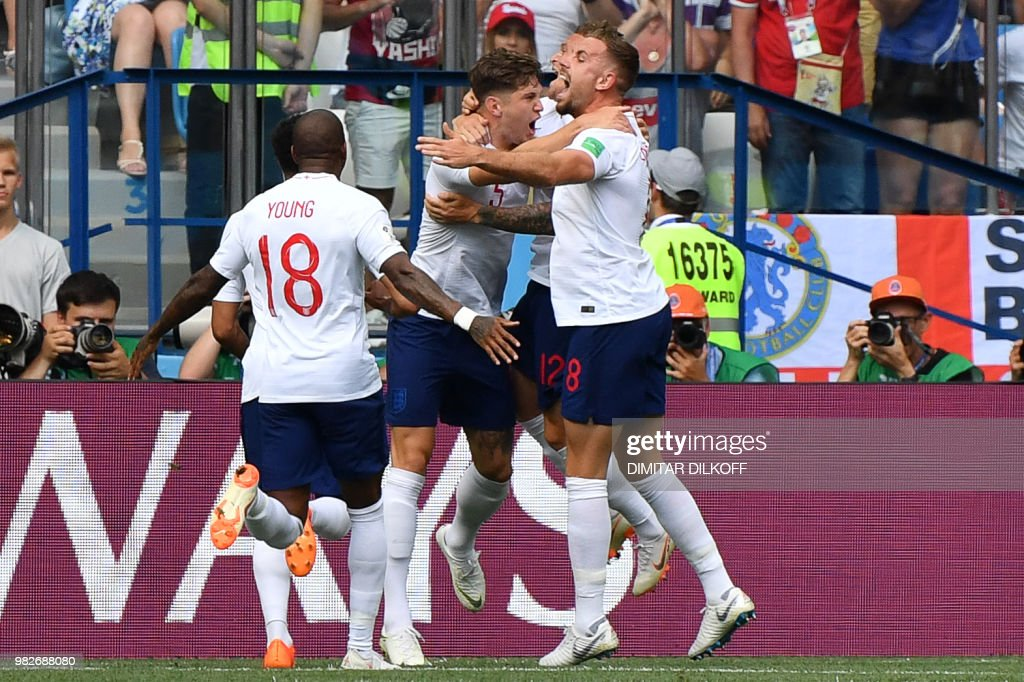 England's defender John Stones (#5) celebrates his goal with teammates during the Russia 2018 World Cup Group G football match between England and Panama at the Nizhny Novgorod Stadium in Nizhny Novgorod on June 24, 2018. (Photo by Dimitar DILKOFF / AFP) / RESTRICTED