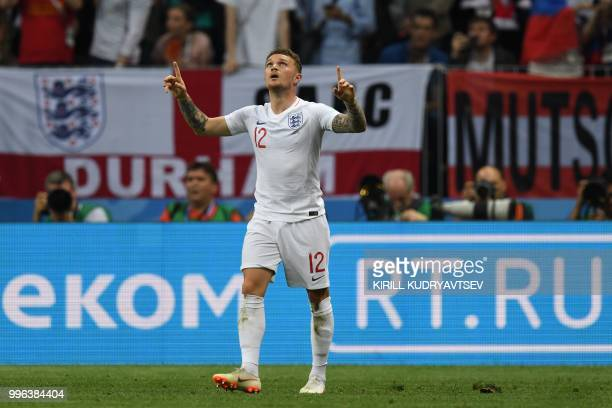 TOPSHOT England's defender Kieran Trippier celebrates after scoring a goal during the Russia 2018 World Cup semifinal football match between Croatia...