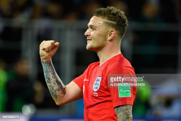 England's defender Kieran Trippier celebrates after winning the penalty shootout at the end of the Russia 2018 World Cup round of 16 football match...