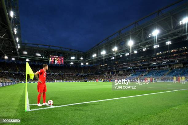 England's defender Kieran Trippier prepares to take a corner during the Russia 2018 World Cup round of 16 football match between Colombia and England...