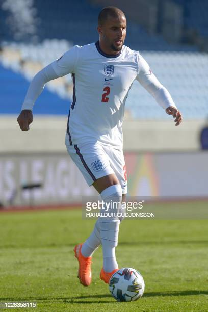 England's defender Kyle Walker controls the ball during the UEFA Nations League football match between Iceland v England on September 5, 2020 in...