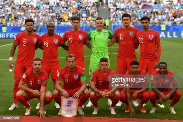 England's defender Kyle Walker England's defender Ashley Young England's defender John Stones England's goalkeeper Jordan Pickford England's defender...