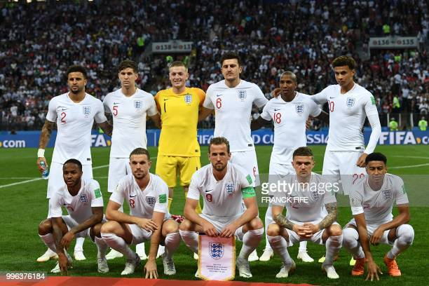 England's defender Kyle Walker England's defender John Stones England's goalkeeper Jordan Pickford England's defender Harry Maguire England's...