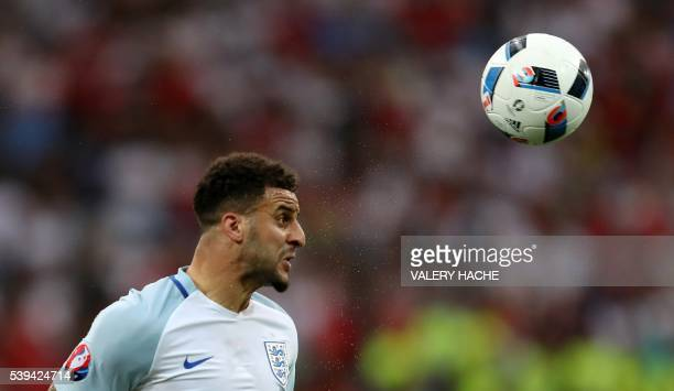 TOPSHOT England's defender Kyle Walker heads the ball during the Euro 2016 group B football match between England and Russia at the Stade Velodrome...