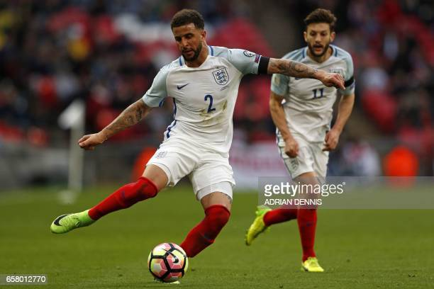 England's defender Kyle Walker passes the ball during the World Cup 2018 qualification football match between England and Lithuania at Wembley...