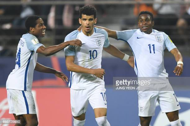 England's defender Kyle WalkerPeters forward Dominic Solanke and forward Ademola Lookman celebrates a goal during the U20 World Cup semifinal...