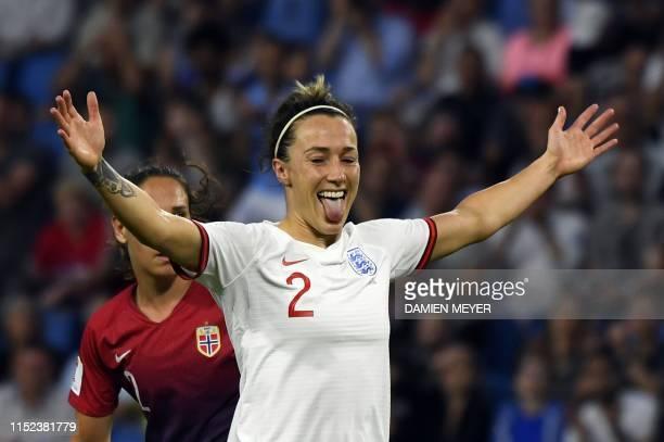 TOPSHOT England's defender Lucy Bronze celebrates after scoring a goalJUBI3 during the France 2019 Women's World Cup quarterfinal football match...