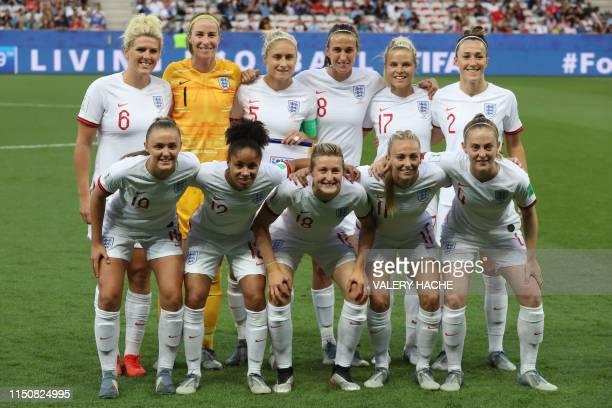 England's defender Millie Bright England's goalkeeper Karen Bardsley England's defender Steph Houghton England's midfielder Jill Scott England's...