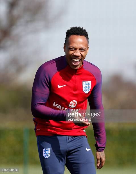 England's defender Nathaniel Clyne laughs during a training session at Tottenham Hotspur's training complex in Enfield north London on March 25 2017...