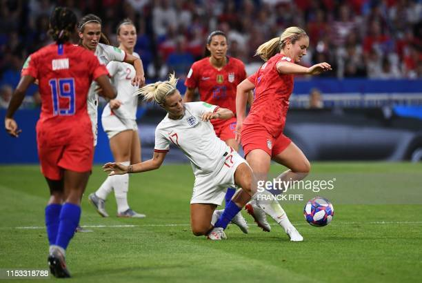 England's defender Rachel Daly and United States' midfielder Lindsey Horan vie for the ball with during the France 2019 Women's World Cup semi-final...