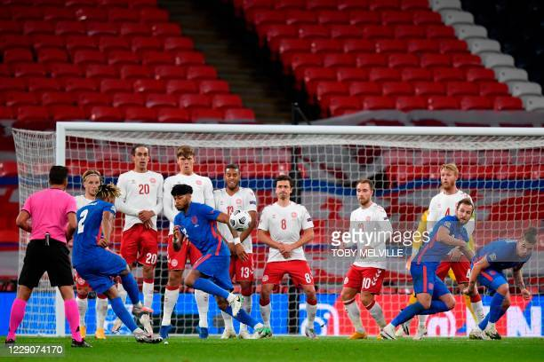 England's defender Reece James takes a free kickduring the UEFA Nations League group A2 football match between England and Denmark at Wembley stadium...