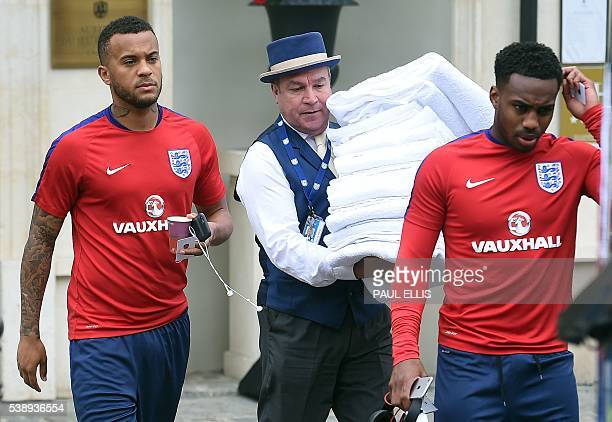 England's defender Ryan Bertrand and also defender Danny Rose leave the team's hotel in Chantilly on June 9 2016 ahead of the Euro 2016 football...