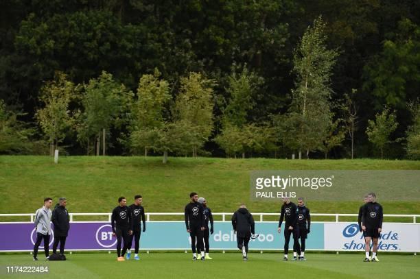 England's defender Trent AlexanderArnold England's midfielder Jadon Sancho England's defender Joe Gomez England's defender Danny Rose England's...