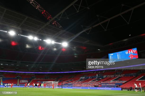 England's defender Tyrone Mings takes a corner kick during the international friendly football match between England and Wales at Wembley stadium in...