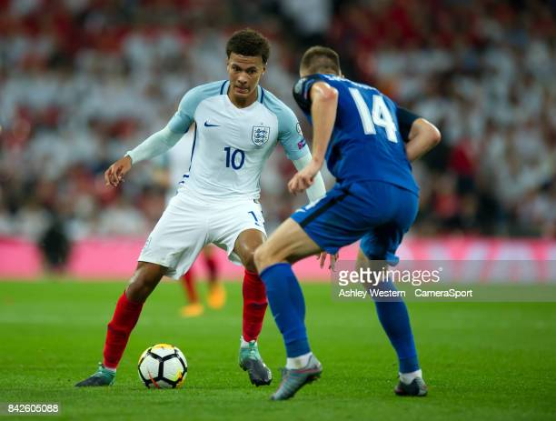 England's Dele Alli in action during the FIFA 2018 World Cup Qualifier between England and Slovakia at Wembley Stadium on September 4 2017 in London...