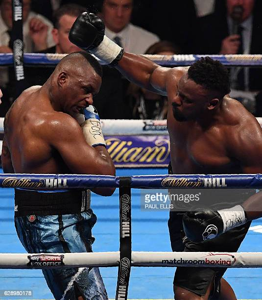 England's Dillian Whyte and England's Derick Chisora fight during the WBC World Heavyweight Title Eliminator WBC International Championship boxing...