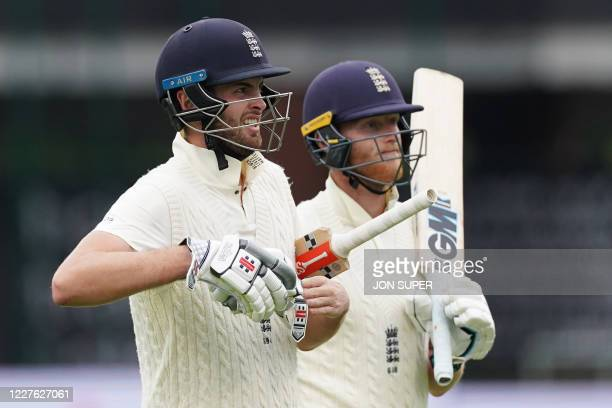 England's Dom Sibley and England's Ben Stokes walk off for tea on the first day of the second Test cricket match between England and the West Indies...