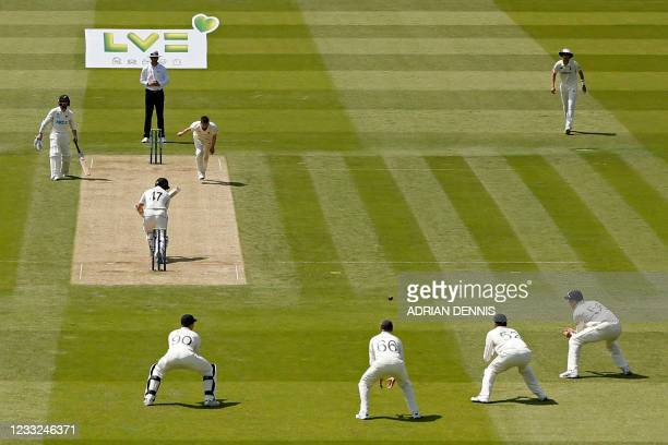 England's Dom Sibley prepares to take a slip catch to dismiss New Zealand's BJ Watling off the bowling of England's Mark Wood for 1 during play on...