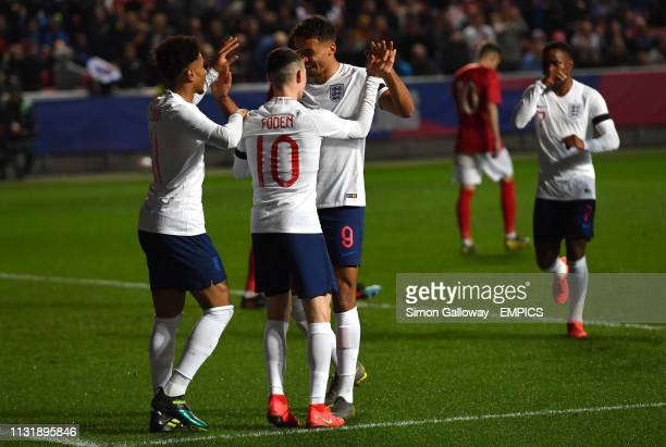 England's Dominic Calvert-Lewin celebrates his sides first goal of the game with his teammates England U21 v Poland U21 - International Friendly -...