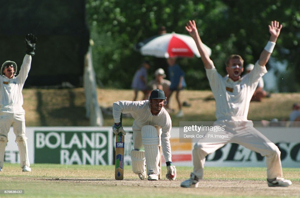 England's Dominic Cork and Jack Russell appeal
