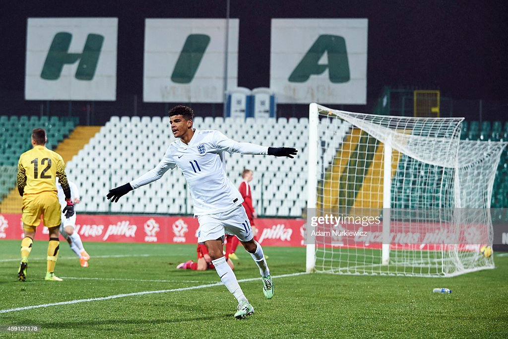 England's Dominic Solanke celebrates after scoring during the international friendly match Under-18 between Poland and England on November 17, 2014 on the MOSiR Stadium in Gdansk, Poland.