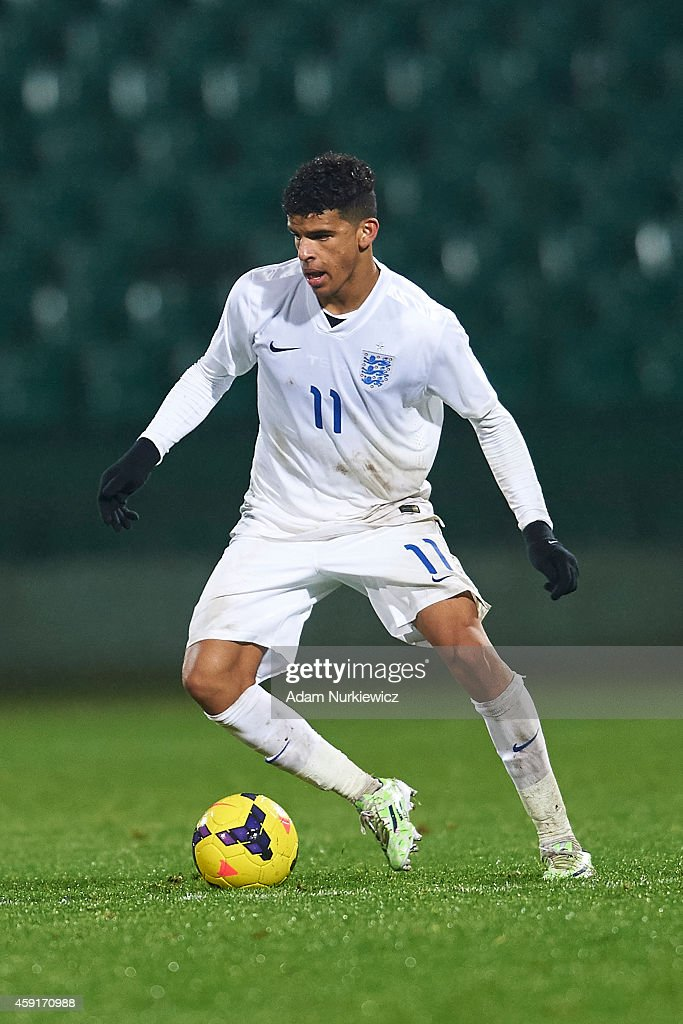 England's Dominic Solanke controls the ball during the international friendly match Under-18 between Poland and England on November 17, 2014 on the MOSiR Stadium in Gdansk, Poland.